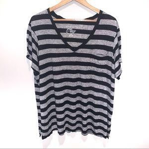 JMS Just My Size Striped V-Neck Pocket Tee T-Shirt